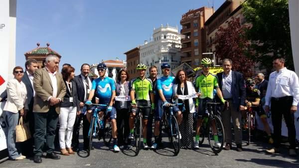 Soro y Pérez han asistido a la salida de la primera etapa de la Vuelta Aragón