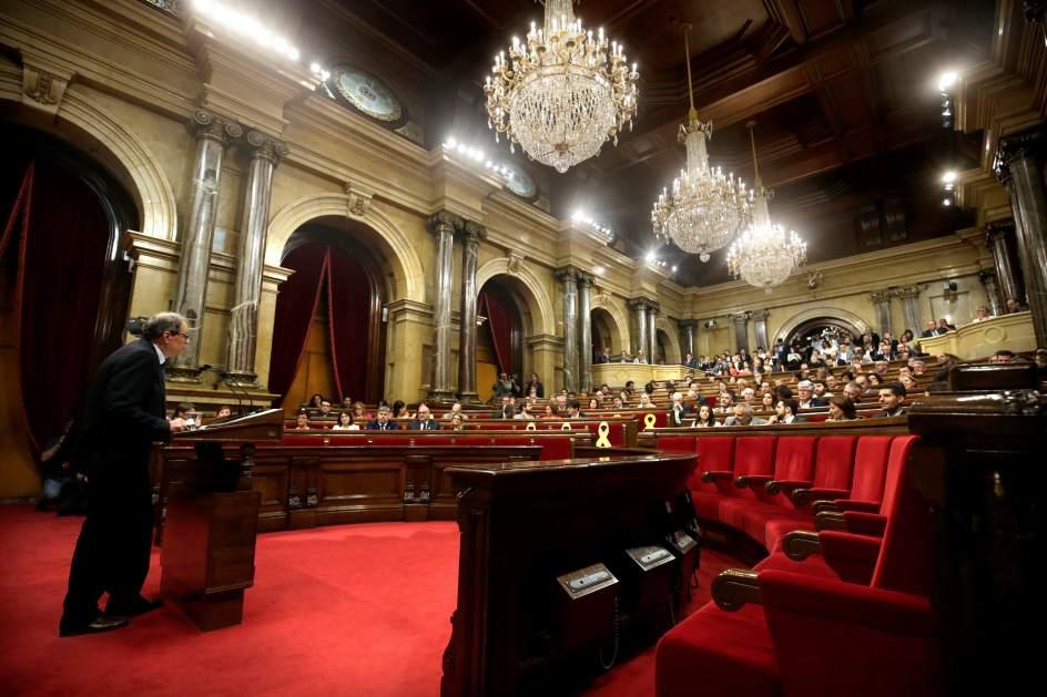 Torra pronuncia su discurso en el Parlament como candidato a la investidura.