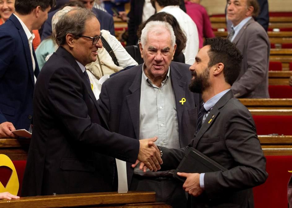 Torra, Maragall y Torrent este sábado en el Parlament.