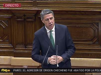 El candidato del PP catalán, Xavier García Albiol, en el Parlament.