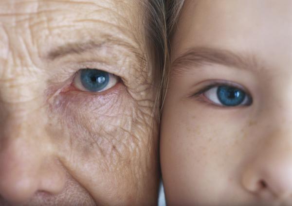 Diferencias en la zona del párpado entre una persona anciana y un niño.