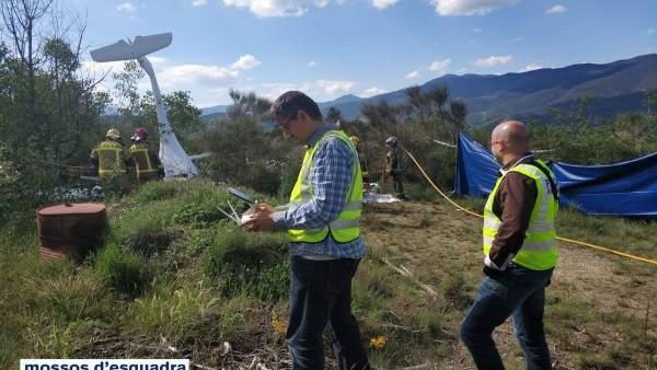 Los Mossos investigan el accidente del ultraligero en La Seu d'Urgell (Lleida)