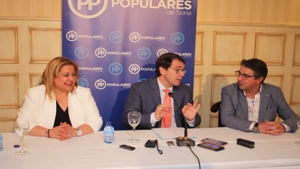 Soria.- Yolanda de Gregorio, Alfonso Fernández Mañueco y Jesús Ángel Peregrina