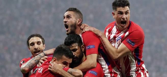 Los jugadores del Atlético festejan
