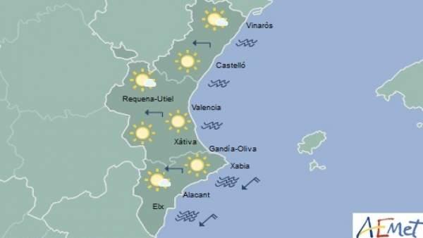 Cels clars i màximes de 25 graus aquest dijous a la Comunitat Valenciana
