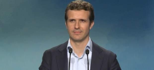 Pablo Casado, en rueda de prensa para aclarar la polémica sobre su máster