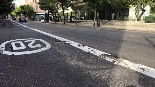 Estado de la calzada en la avenida de San José