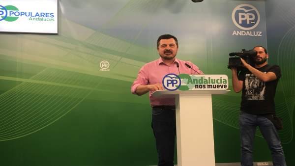 El vicesecretario de Organización del PP-A, Toni Martín, en rueda de prensa