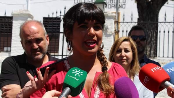 La coordinadora de Podemos Andalucía, Teresa Rodríguez, en Granada
