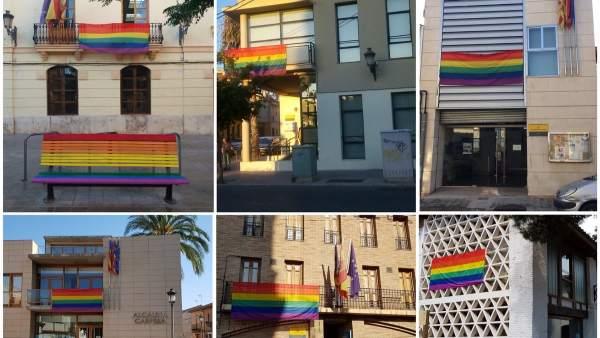 La bandera del arco iris luce en varios puntos de València