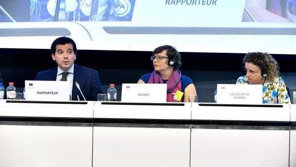 Mikel Irujo, delegado navarro en Bruselas, en un momento de su comparecencia.