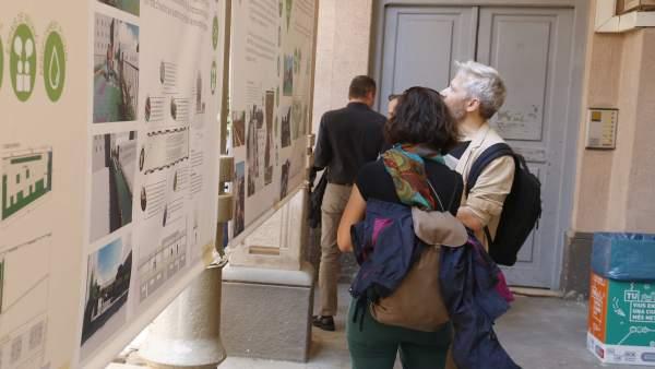 Exposición de los proyectos ganadores del concurso de cubiertas verdes en el patio de La Model de Barcelona.