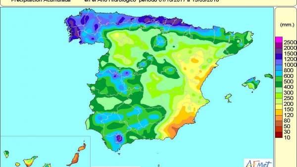 Las lluvias desde el 1 de octubre al 15 de mayo superan en un 9% el valor normal
