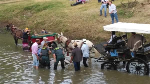 Agentes del Seprona asisten a un animal desvanecido en el Quema