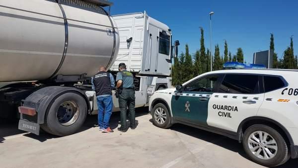 Camión al que se robó el combustible