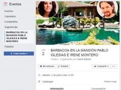 Cancelado el grupo de Facebook de la barbacoa en el chalet de Iglesias
