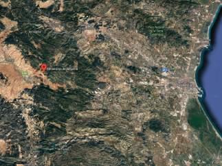 Localización del aeródromo de Requena (Valencia)