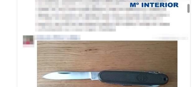Publicación del detenido en una de las redes sociales