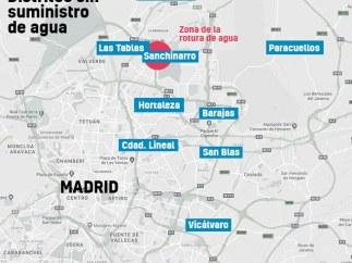 Mapa de la zona afectada por la rotura de la tubería en Madrid