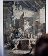 Un visitante observa 'La Celestina y los enamorados', de Luis Paret, recientemente adquirida por el Museo del Prado.