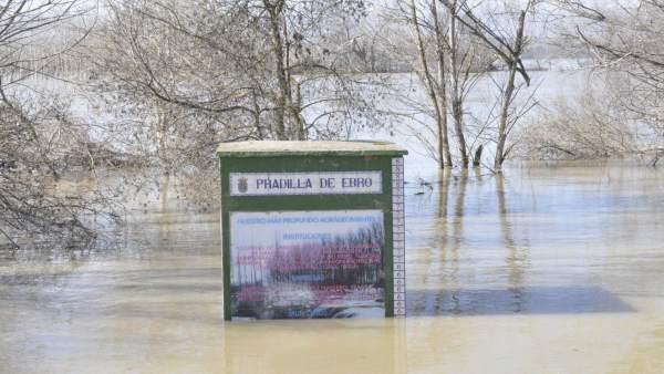 La localidad de Pradilla de Ebro ha sido una de las más afectadas por la riada.
