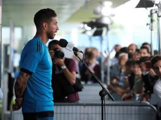 Sergio Ramos, en el Media Day del Real Madrid antes de la final de Kiev.