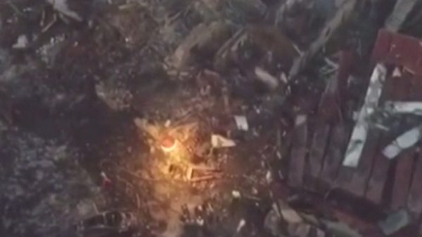 El cráter de la explosión de Tui a vista de dron