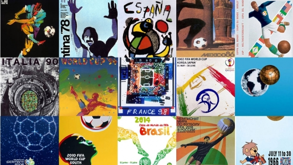 Carteles de los diferentes mundiales de fútbol