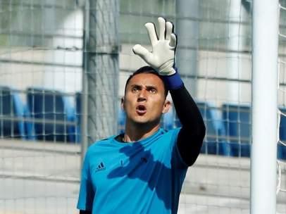 Keylor Navas, en un entrenamiento con el Real Madrid.