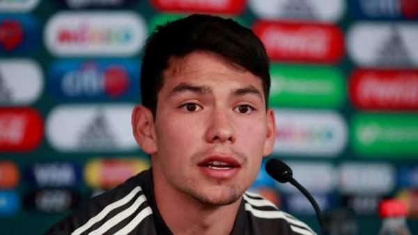 Hirving Lozano, en una rueda de prensa con la selección de México.