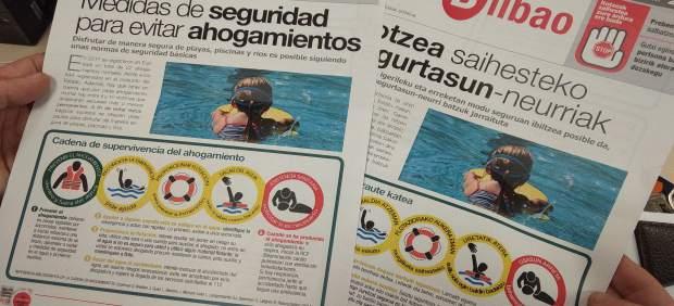 Folletos con consejos para evitar ahogamientos