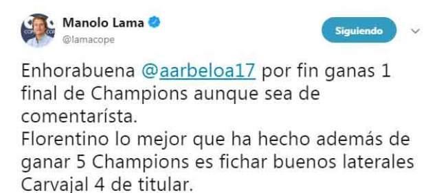 Tuit de Lama contra Arbeloa