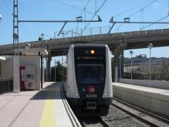 Llegada del primer metro a Riba-roja de Túria (Valencia).