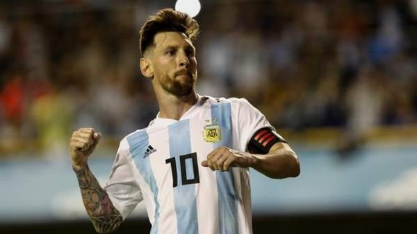 Messi, en el amistoso entre Argentina y Haití.
