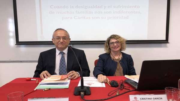 Carlos Gómez y Cristina García han presentado la memoria de Cáritas de 2017