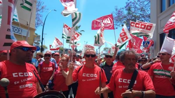 Trabajadores de la hostelería de Málaga protesta ante empresarios 2018