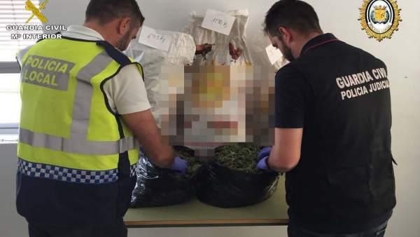 Marihuana intervenida en Bollullos Par del Condado (Huelva).