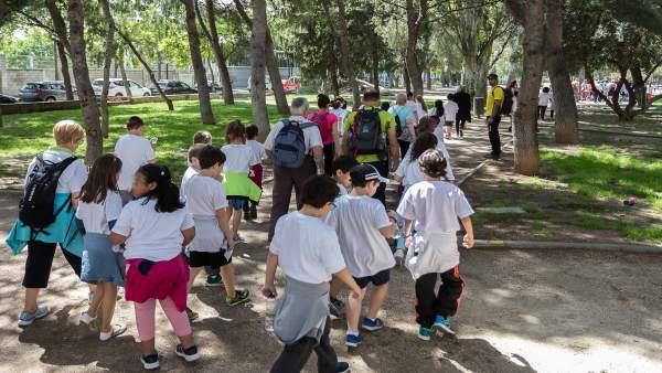 Niños y mayores han disfrutado este jueves de una jornada deportiva en Zaragoza