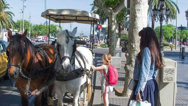 Una carroza de caballos para turistas apostada en La Rambla de Barcelona.