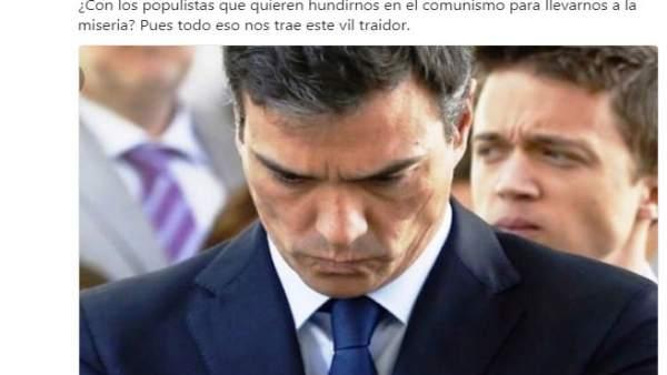 Tuit de Francisco Bernabé sobre Sánchez