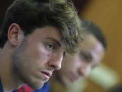 Álvaro Odriozola, en una conferencia de prensa con la selección española.