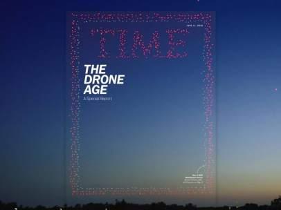 La nueva portada de la revista TIME, creada con 958 drones.