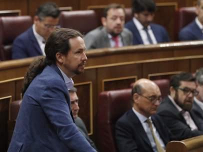 Pablo Iglesias, secretario general de Podemos, en el Congreso.