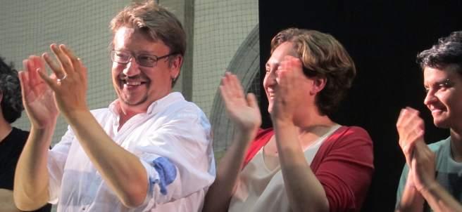 Xavier Domènech y Ada Colau celebran los resultados del 26-J.