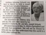 Obituario de Kathleen Dehmlow publicado en el periódico local Redwood Falls Gazette.