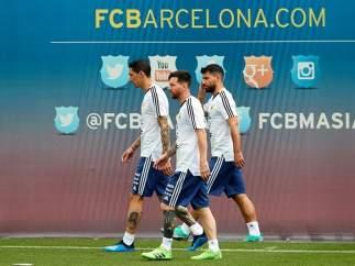 Argentina, entrenando en las instalaciones del FC Barcelona.