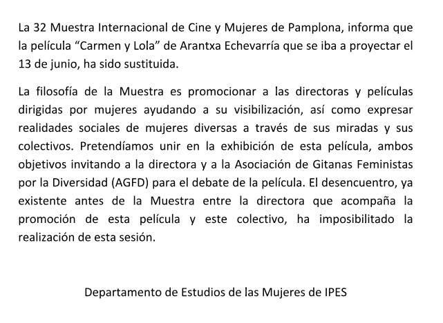 Comunicado de la 32 Muestra Internacional de Cine y Mujeres de Pamplona sobre la cinta 'Carmen y Lola'.