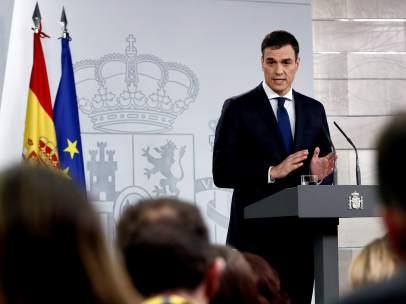Pedro Sánchez, presidente del Gobierno, este miércoles en la Moncloa.