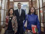 Margarita Robles, Pedro Sánchez y Adriana Lastra