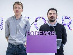 El candidato de Podemos a la Comunidad de Madrid, Íñigo Errejón, y el secretario general autonómico, Ramón Espinar.